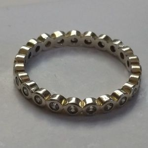 Stackable Sterling Silver Cz Band Ring